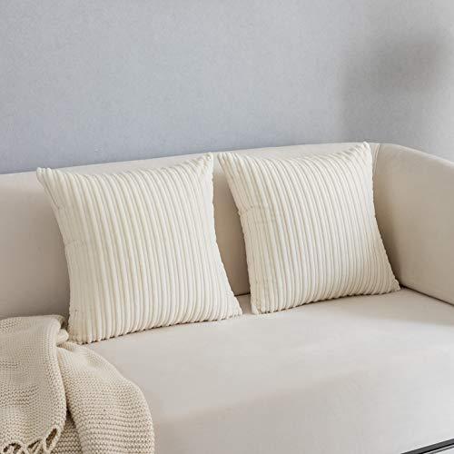 Kevin Textile - Funda de cojín de terciopelo con textura de pana a rayas para silla, 50 x 50 cm, 2 unidades, color blanco crema