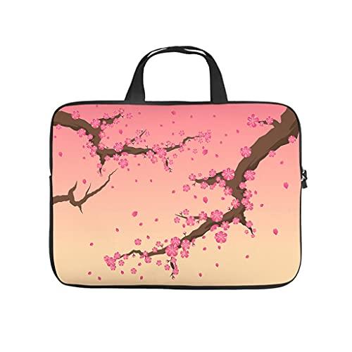 Bolso para portátil con diseño de flores de cerezo japonés, resistente a los arañazos, ideal como regalo, Blanco, 13 pulgadas,