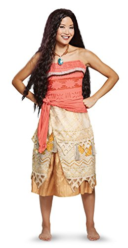 Disguise Women's Moana Deluxe Adult Costume, red, M (8-10)