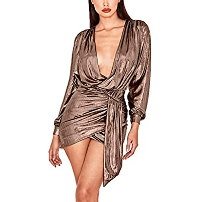 Ophestin Womens Sexy Deep V Neck Metallic Glitter Ruched Long Sleeve Party Dress Rose Gold Size M