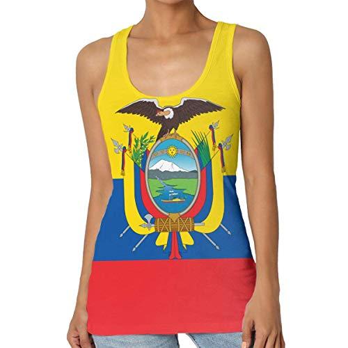 Henrnt Camisetas Sin Manga Mujer/Chaleco,Verano Camiseta Tirantes, Flag of Ecuador Women Tank Top T-Shirt Fashion Sleeveless Sport Vest Racerback