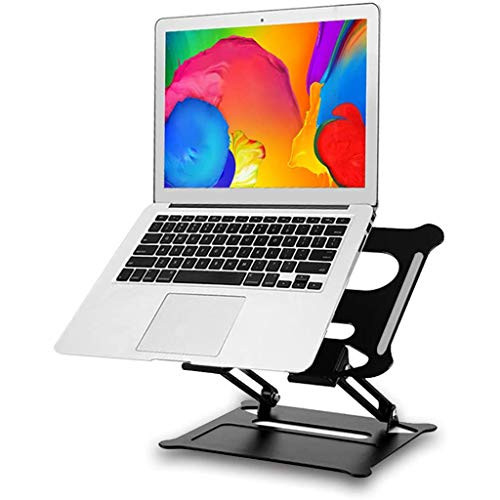 Laptop Holder Height & Angle Adjustable Laptop Stand for Desk Stable Aluminum Laptop Riser Foldable MacBook Air/Ipad Support,Black