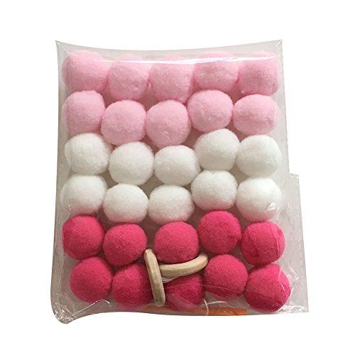 Homeofying - Guirnalda de pompones para colgar en la habitación de los niños, madera, Blanco + rosa + rosa