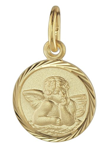 trendor Schutzengel Anhänger Gold 585 liebevoller Goldanhänger für Mädchen oder Jungen, Engelanhänger für Kids, toller Goldschmuck, Geschenkidee, 08618