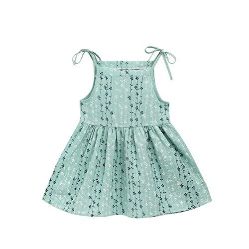 Livingsenburg Bébé sans Manches Robe Camisole Gilet Tutu Robe fête d'été Mariage Princesse Bambins Coton Licou T-Shirt Robe d'été 2-8 Ans (7-8T, G)