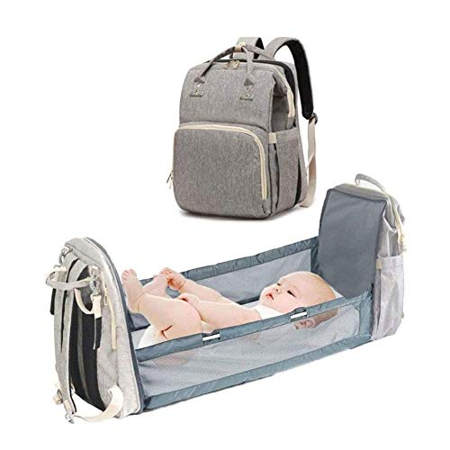 Denise Lamb Baby Changing Bag Backpack,4 in 1 Baby Carrier Foldable Lightweight Crib Outdoor Portable Travel Camping Multifunctional Travel Storage Bag (Color : Gray)