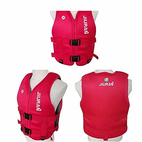 LLDMZ Chaleco salvavidas de flotabilidad profesional ayuda a supervivencia flotante verano transpirable flotante portátil para niños adultos, para natación, pesca, surf, buceo, rafting, kayak, rojo
