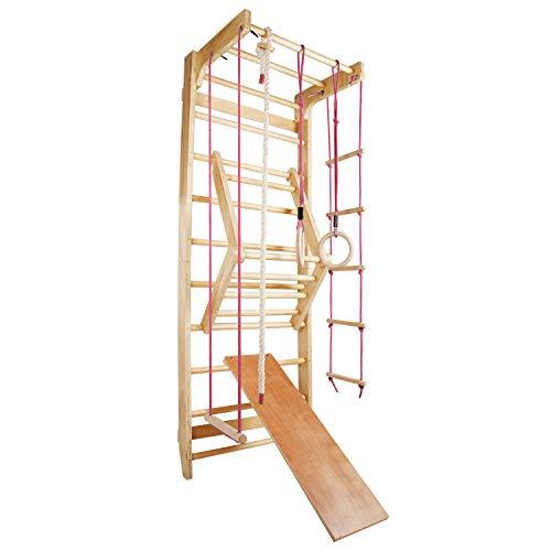 CCLIFE Sprossenwand Turnwand Gym Klettergerüst Holz Sportgerät Kletterwand mit Stange Fitness Kinder Erwachsener, Farbe:Rot