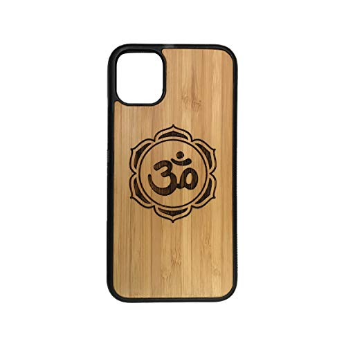 OM Lotus Flower Case for iPhone 11 Pro 5.8' (Small) by iMakeTheCase | Eco-Friendly Bamboo Wood Cover + Protective TPU Wrapped Edges | Yoga Chakra Zen Hindu Meditate Sacred Mantra