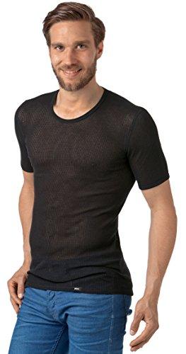 Netzhemd für Herren, Herren Netzunterhemd, atmungsaktives Herren Netzhemd aus reiner Baumwolle, europäische Produktion (7 (XL), schwarz)