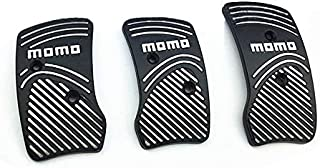 Surla Momo Style Black Aluminium Non Slip Sport Pedal Brake Pad Covers Manual Car 3 PC (Black)