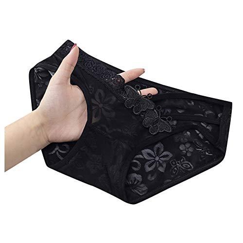 Kuailema Damenunterwäsche sexy Spitzen Slips niedrige Taille Slips sexy Hohle Slips Schwarze Slips (schwarz d, M)