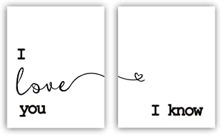 """HPNIUB I Love You- I Know Romantic Quote Saying Art Prints Set of 2 (8""""X10"""" Minimalist Typography Canvas Poster for Couples Bedroom Or Living Room, No Frame"""