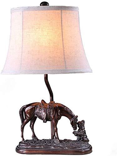 DJSMtd Lámpara de mesa de arte europeo con forma de pony, tela brillante de sombra de resina, creativa para salón, dormitorio, lámpara de mesita de noche, decoración artesanal, E27