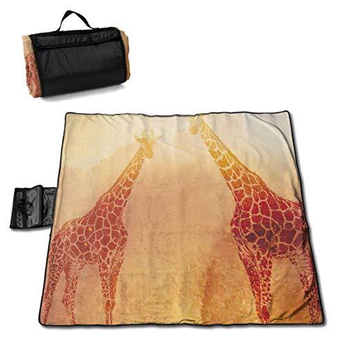 Suo Long Couverture de Pique-Nique Tropic Girafes africaines Rétro Vintage Safari Tapis de Pique-Nique Couverture de Plage