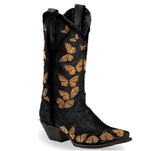 DIQIU Women Western Cowboy Boots, Pull-on Tall Boots Equestrian Shoes Vintage Embroidery Knight Riding Boots Cowgirl Pointed Toe Boot,Black-43