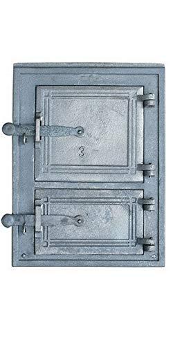 QLS Puerta de horno de hierro fundido, puerta doble de 38 x 29 cm