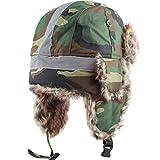 Faux Fur Safety Reflective Aviator Trapper Hat Snow Ski Trooper Winter Cap (S/M, Woodland Camo)