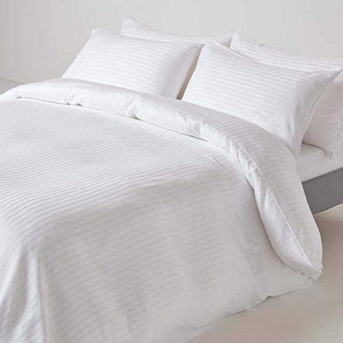 HOMESCAPES White Pure Egyptian Cotton Duvet Cover Set Super King 330 TC 500 Thread Count Equivalent Satin Stripe Quilt Cover Pillowcase 2 Pillowcases Included Bedding Set
