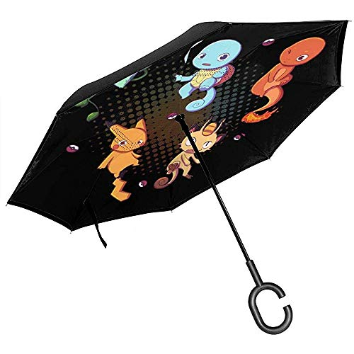 Monster van het denken over de betekenis van het leven omgekeerde paraplu voor auto vouwen ondersteboven C vorm handen lichtgewicht geschenk