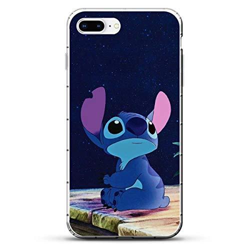A-Legend Ultra Clear Coque Thin Lightweight Anti-Skid Soft Flexible Gel TPU Case Cover for Apple iPhone 7 Plus/8 Plus-Cute Lilo-Stitch 3