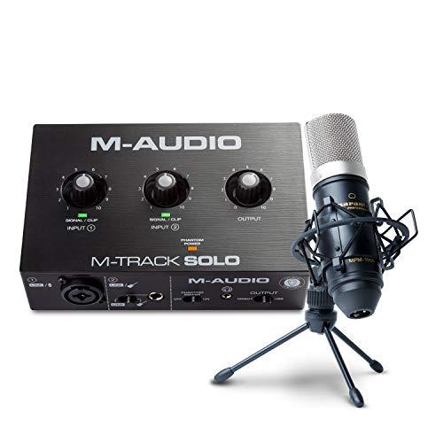 M-Audio Collaboration Bundle for Recording, Streaming and Podcast - M-Track Solo USB Audio Interface, Marantz MPM-1000 Condenser Microphone