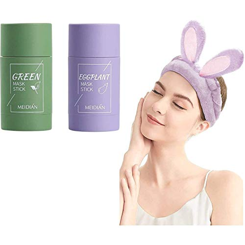 Green Tea Purifying Clay Stick Mask,Green Tea Face Peel Mask Blackhead Remover Acne Deep Cleansing,Oil Control Eggplant Solid Fine Improves Texture of The Skin (Green Tea)