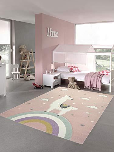 Pastel Kids Alfombra para niños Alfombra Lama Play Alfombra Lama Unicornio Arco Iris Nubes en Rosa Größe 140x200 cm