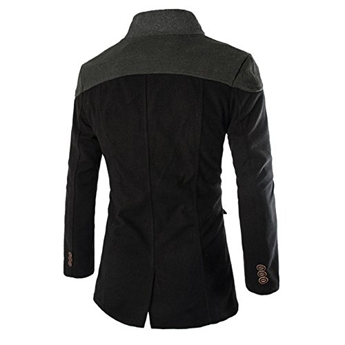 Toimothcn Men Double Breasted Pea Coat Formal Business Blazer Suit Long Jacket Outwear Lapel(Black,XXL)
