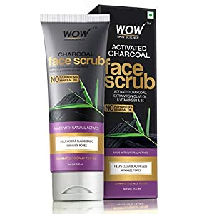 WOW Activated Charcoal Face Scrub - No Parabens & Mineral Oil - 100mL