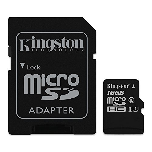Kingston SDC10G2/16GB - Tarjeta de Memoria microSD, 16 GB, Clase 10 UHS-I, 45 MB/s, Color Negro