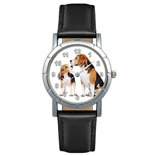 Timest - Beagle - Hunde Motiv Damenuhr mit Lederarmband Rund Analog Quarz SA1956