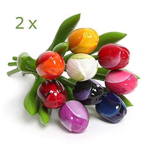 MomoMoments 2 Hochwertige Tulpensträuße aus Holz für die Liebste, 2X 9 Kunsttulpen handbemalt, 21 cm hoch, Blumenstrauss, Dekoration, Muttertagsgeschenk, Made in Holland