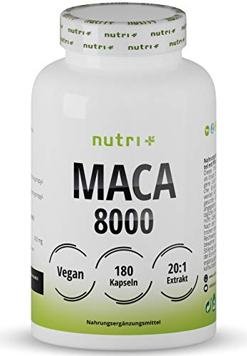 MACA Kapseln hochdosiert + vegan - Maca Gold 8000 180 Caps - Original 20:1 Premium Extrakt (Root Powder) - laborgeprüft ohne Magnesiumstearat - für Männer & Frauen