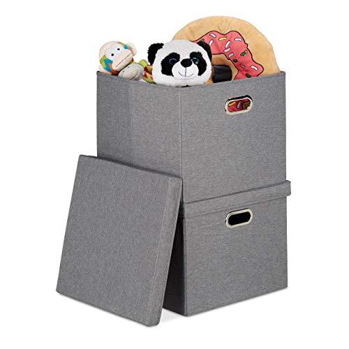 Relaxdays Aufbewahrungsbox 2er Set, Faltbare Ordnungsbox mit Deckel, je 51 l, Faltbox quadratisch, 34 x 43 x 43 cm, grau