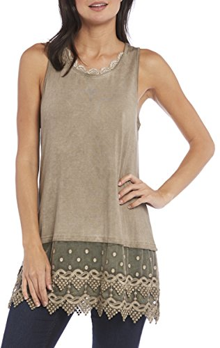 Kaktus Women's Plus Size Lace Camisole Tank and Shirt Extender, Washed Natural, 2X