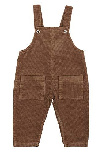 Camilife Baby Jungen Mädchen Kordsamt Latzhose Overall Kord Hose mit Hosenträger für Baby Kleinkind Kinder 1-4 Jahres alt Vintage Retro - Hellbraun Größe 80