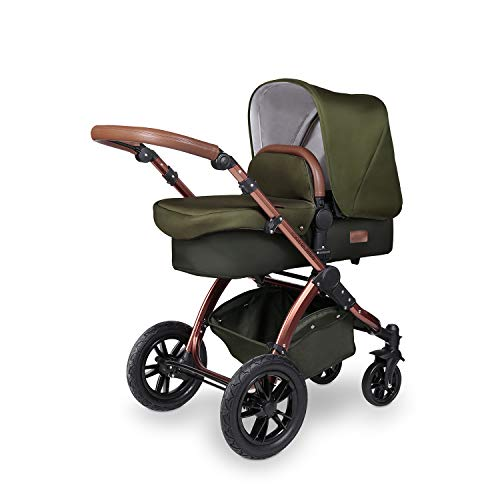 Ickle Bubba Stomp V4 SPECIAL EDITION Baby Travel System | Bundle incl Rear and Forward-Facing Pushchair, Car Seat, Carrycot, Footmuff and Raincover | Woodland/Bronze