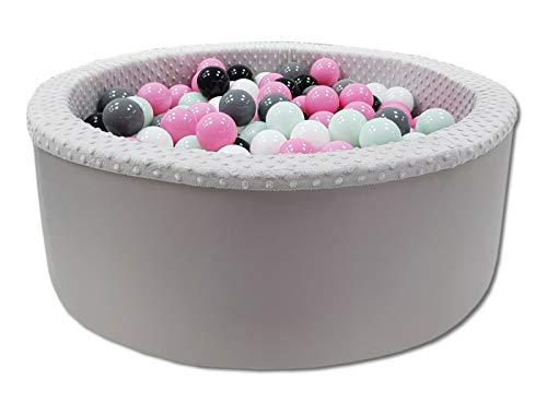 Odolplusz Bällebad 90x30 cm ∅ 7Cm | Bällepool für Baby mit 200 bunten Bällen Rund, viele Farben zur Auswahl (Grau - Mädchen)