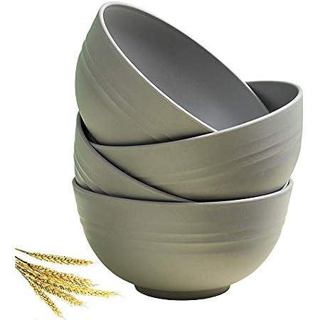 Greenandlife Unbreakable Cereal Bowls - 24 OZ Wheat Straw Fiber Lightweight Bowl Sets 4 - Dishwasher & Microwave Safe - for ,Rice,Snack Bowls