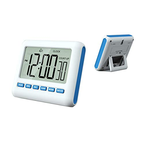 MOUISITON 12/24 Hours Magnetic Kitchen Timers with Digital Alarm Clock, Big Screen Loud Alarm & Strong Magnet, Count-Up & Count Down for Kitchen Baking Sports Games Office Study (Blue)