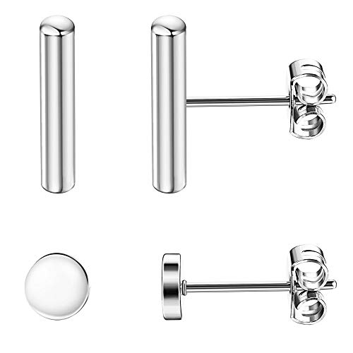 Sllaiss 2 Pairs 925 Sterling Silver Bar Dot Stud Earrings Set for Women Men Simplify Round Stick Cylinder Earrings Hypoallergenic