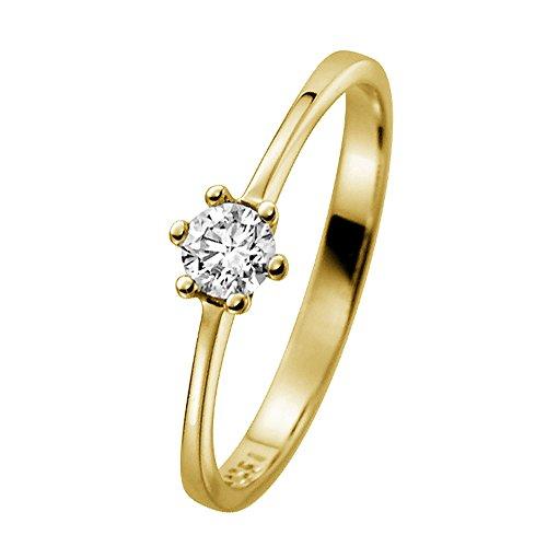 trendor Verlobungsring 585 Gelbgold mit Diamant 0,20 ct 532473-58/18,5 Ringgröße 58/18,5