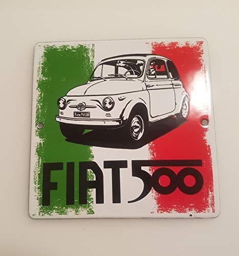 EMAILLE schild 12 x 12 cm FIAT 500 Italiaanse vlag emailbord deurplaat werkplaatsbord