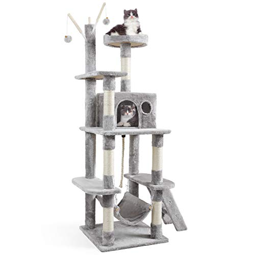 """JOYO Cat Tree Cat Tower, 58"""" Multi-Level Cat Tree for Indoor Cats, Cat Tree House with Hammock, Scratching Posts, Top Perch, Ladder, Cat Activity Tree for Kittens, Cat Climbing Tower for Cat Play,Grey"""