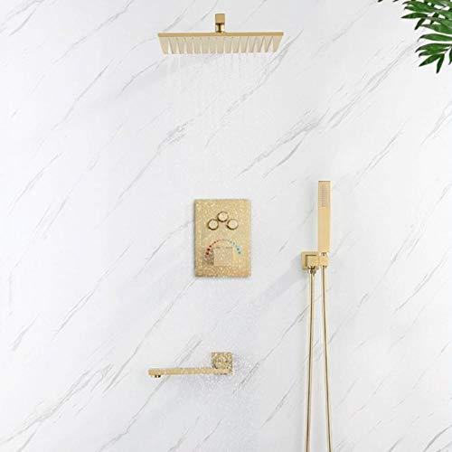 Juego de grifo de bañera termostático oculto cepillo dorado estilo de latón cuadrado ducha de lluvia juego de grifo de ducha de baño montado en la pared,WEJXUGWP