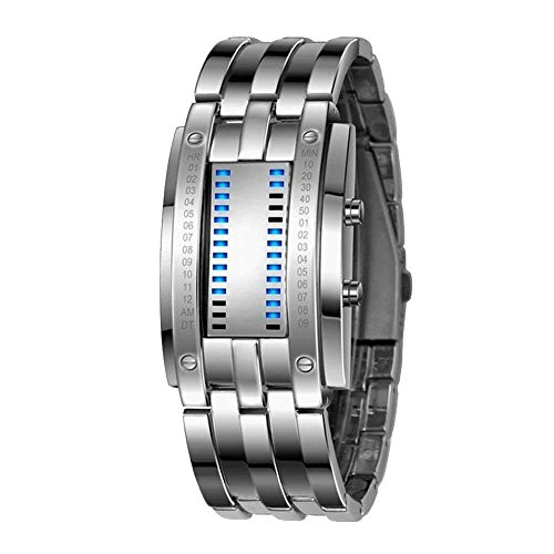Binary Watch for Men Lava Matrix Blue LED Digital Wristwatch Classic Creative Fashion Silver Bracelet Wrist Watches