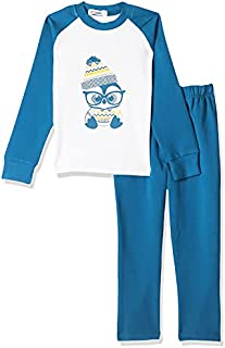 Giggles Printed Two-Tone Round Neck Long Sleeves T-Shirt With Basic Elastic Waist Pants Pajamas for Boys