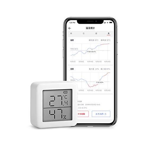 SwitchBot - Thermometer und Hygrometer, Draadloze Temperatuur Vochtigheid Sensor met Waarschuwingen, Voeg SwitchBot Hub Plus/Mini Compatibel met Alexa, Google Home, HomePod, IFTTT