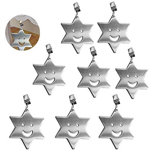 Bestine 8 Piezas Clip de Mantel Pinzas Mantel Acero Inoxidable Pesas de Manteles para Fiestas, Picnic, Bodas, Jardín, Hogar, Interior, Exterior, Camping (Stars)